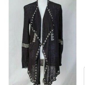 Anthropologie Black Embroidered Cardigan Sweater S